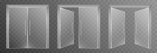 Set di porte in vetro su uno sfondo trasparente isolato