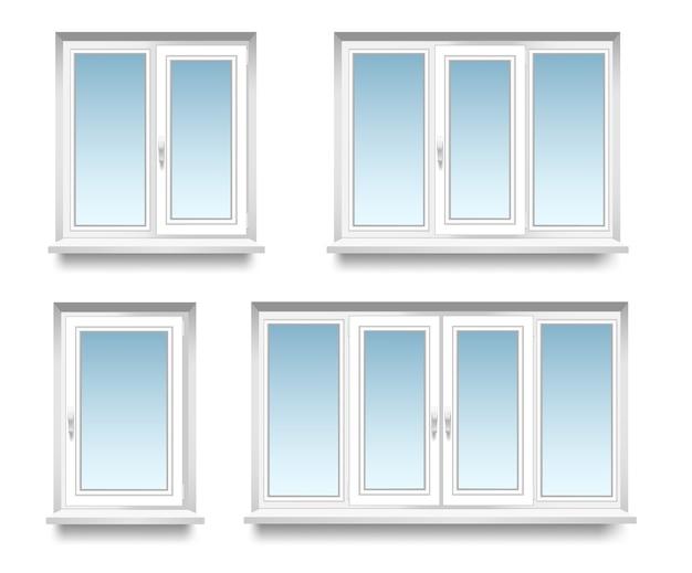Set di cornice in vetro su sfondo bianco e trasparente