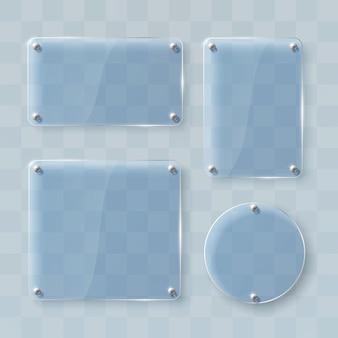 Set di cornici in vetro su trasparente. illustrazione vettoriale