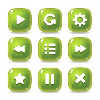 Set di icone di vetro verde per interfacce di gioco