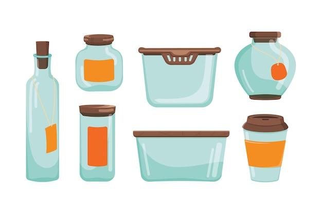 Set di barattolo di vetro e contenitore e bottiglia. collezione di bicchieri da cucina vuota.