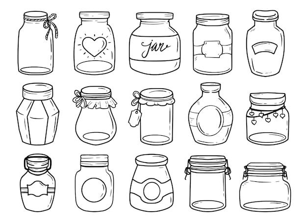 Set di barattolo di vetro illustrazione disegno doodle