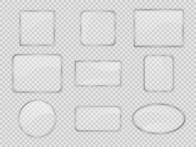 Set di lastre di vetro in diverse forme geometriche su sfondo trasparente. illustrazione vettoriale