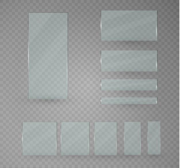 Set di lastre di vetro. striscioni di vetro su uno sfondo trasparente.