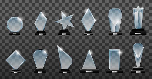 Set di glass trophy award in diverse forme