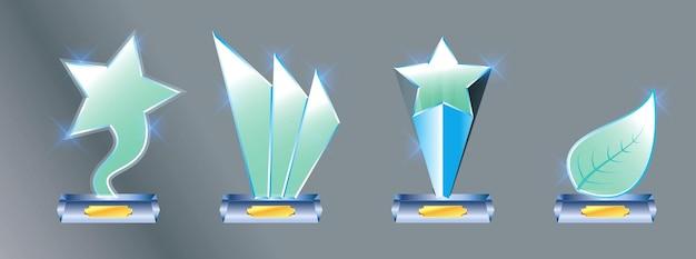 Set di premio trofeo in vetro premio vettoriale su sfondo grigio sfumato facile da modificare