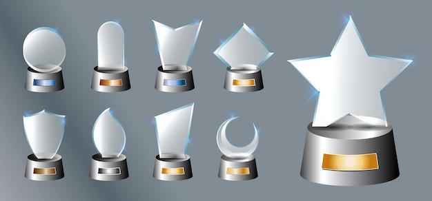 Set di premio trofeo di vetro premio vettoriale su sfondo grigio sfumato