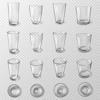Set di bicchieri da acqua in vetro ad angoli diversi su sfondo trasparente