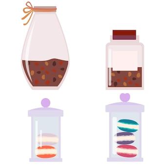 Set di vetro con coperchio un barattolo per conservare prodotti sfusi una lattina di biscotti una lattina di caffè