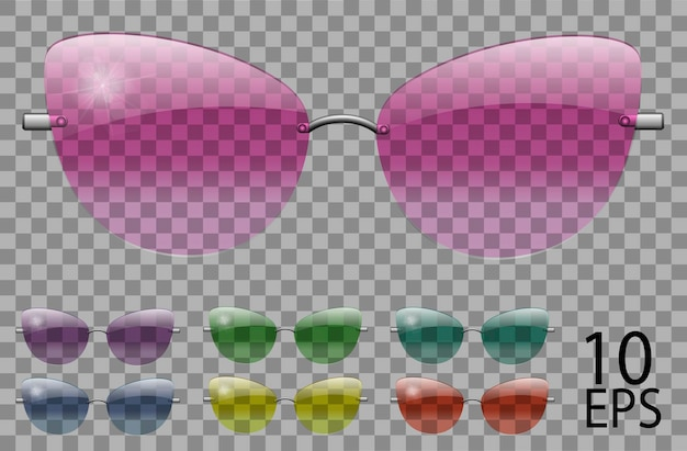 Set occhiali.farfalla cat eye shape.transparent different color.sunglasses.3d graphics.pink blu viola giallo rosso verde.unisex donna uomo