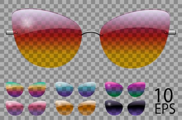 Set occhiali.farfalla cat eye shape.transparent different color.sunglasses.3d graphics.rainbow camaleonte rosa blu viola giallo rosso verde arancione nero.unisex donna uomo