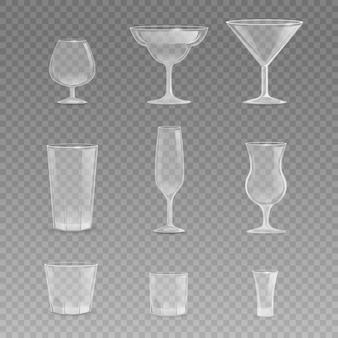 Set di bicchieri per tazze di illustrazione realistica di vettore di bevande diverse