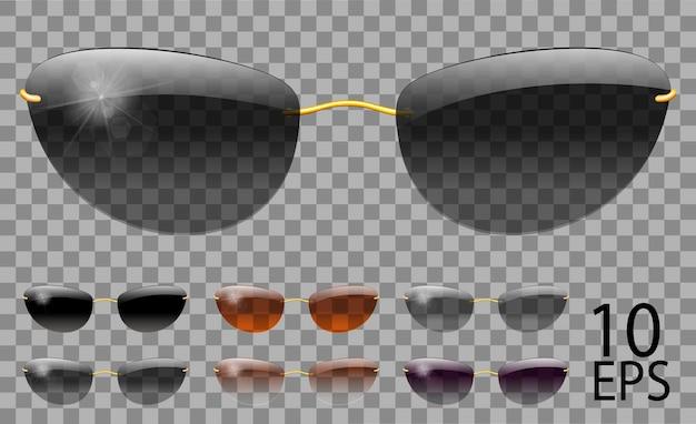 Set bicchieri. futuristica forma stretta.trasparente colore diverso nero marrone viola.sunglasses.3d graphics.unisex donne uomini