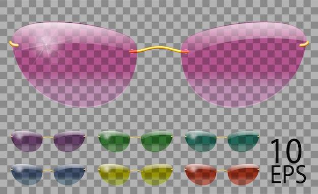 Set bicchieri. futuristico; forma stretta.trasparente colore diverso.occhiali da sole.3d grafica.rosa blu viola giallo rosso verde.unisex donna uomo