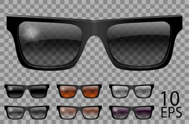 Set occhiali.forma trapezoidale.trasparente colore diverso nero marrone viola.sunglasses.3d graphics.unisex donna uomo