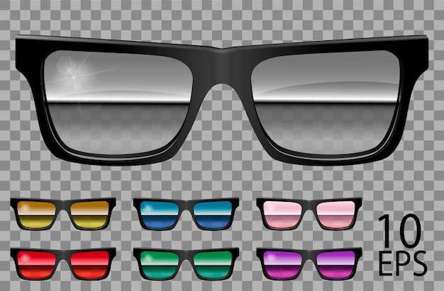Set occhiali.forma trapezoidale.trasparente colore diverso .viola rosso blu speculare rosa specchio dorato verde.sunglasses.3d graphics.unisex donna uomo