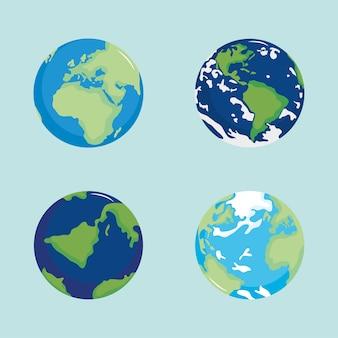 Set di illustrazione di geografia del pianeta mappa del mondo globale