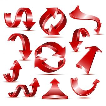 Insieme delle icone rosse lucide della freccia per il modello di logo o di web design.