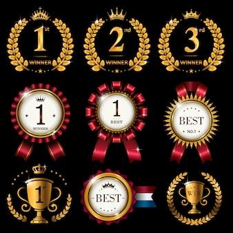 Set di etichette rotonde lucide o premio con nastro