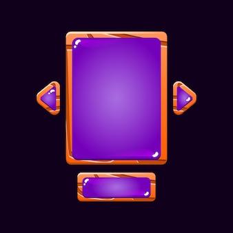 Set di schede ui di gioco in legno lucido pop-up per elementi di asset gui
