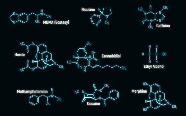 Set di bagliore al neon stile concetto 9 etichetta icona formula chimica narcotica, illustrazione vettoriale di carattere di testo, isolato su priorità bassa della parete. tavola periodica degli elementi, roba che crea dipendenza.