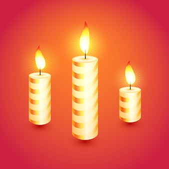 Set di candele di natale incandescente. illustrazione.