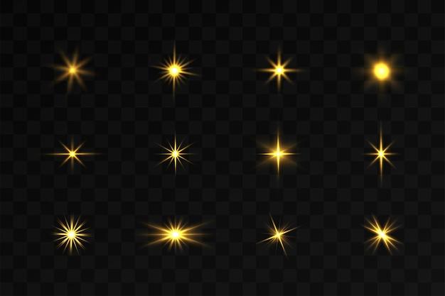 Set di scoppio di luce incandescente su sfondi trasparenti