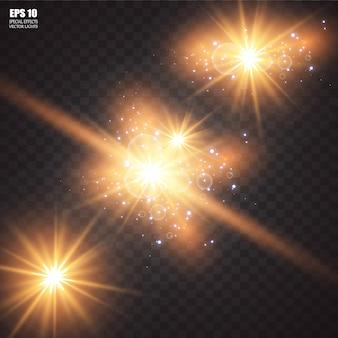 Set di stelle luminose incandescenti con scintillii. effetto luce. .