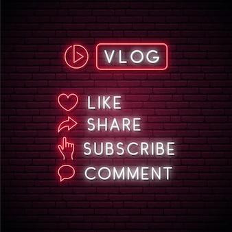 Set di icone al neon incandescente per il blogging.