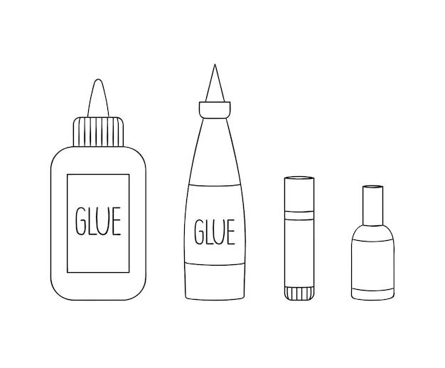 Set di icone della linea di colla. cancelleria colorata vettoriale, materiale per scrivere, materiale scolastico o per ufficio isolato su priorità bassa bianca. stile cartone animato