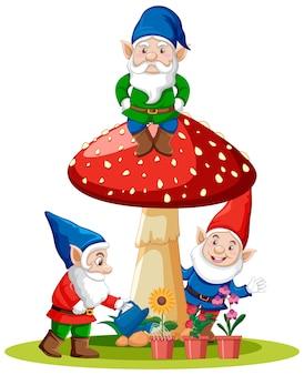 Set di gnome fantasy personaggio dei cartoni animati su sfondo bianco