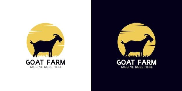 Set di concetto di design del logo di capra