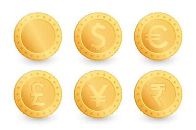 Set di monete d'oro. dollaro, euro, yen, sterlina inglese, rupia.