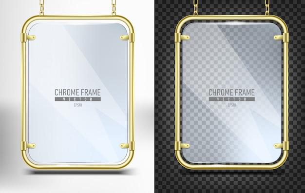 Set di cornice in oro con vetro per banner. pannello dello spazio pubblicitario per testo che appende sulle catene su fondo bianco e nero