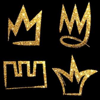 Set corona disegnata a mano glitter oro. firma re, regina, principessa. illustrazione vettoriale.