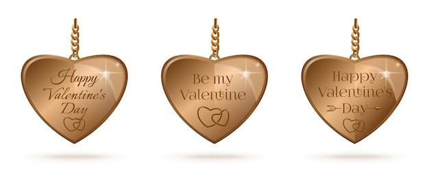 Set di cuori d'oro con scritte di saluto per san valentino. sii il mio valentino. buon san valentino. illustrazione