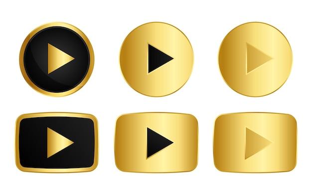 Insieme del simbolo dell'icona del pulsante di riproduzione dell'oro isolato