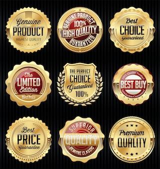 Set di badge e adesivi oro e rosso
