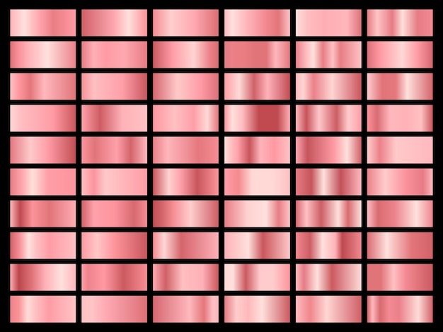 Set di lamina d'oro rosa. raccolta di sfumature pastello rosa isolato.