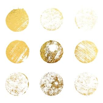 Set di vettore di bordo vintage dorato di lusso timbro di gomma d'oro