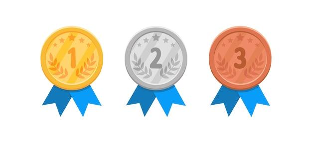 Set di medaglie d'oro, d'argento e di bronzo su bianco