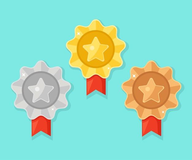 Set di medaglie d'oro, d'argento, di bronzo con stella per il primo posto. trofeo, premio per il vincitore su sfondo blu. distintivo d'oro con nastro. realizzazione, concetto di vittoria.