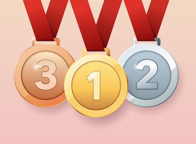 Set di medaglie d'oro, d'argento e di bronzo. illustrazione moderna di stile.