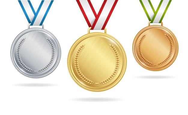 Set di medaglie d'oro, d'argento e di bronzo