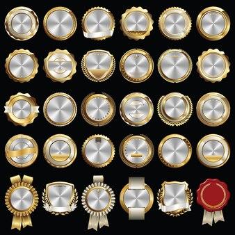 Set di sigilli e distintivi certificati oro argento