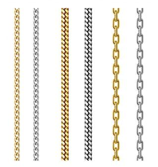 Set di catene d'oro e d'argento. design di gioielli. illustrazione realistica 3d isolata su bianco