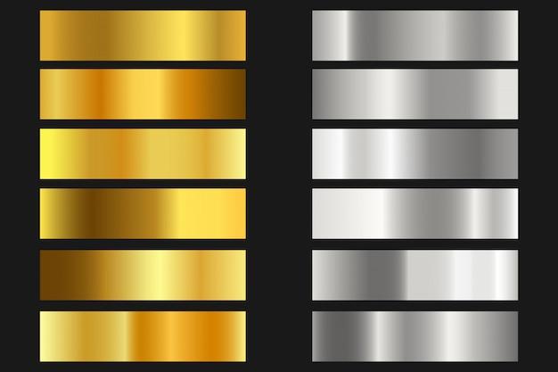 Set di sfondi texture oro, argento. collezione di gradiente lucido e metallico