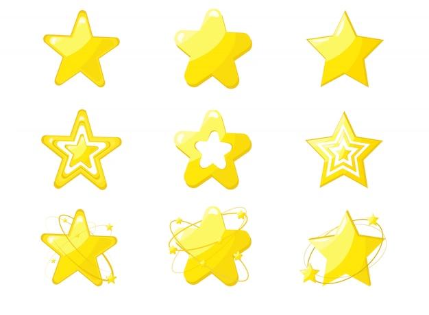 Set di stelle d'oro isolato su sfondo bianco.