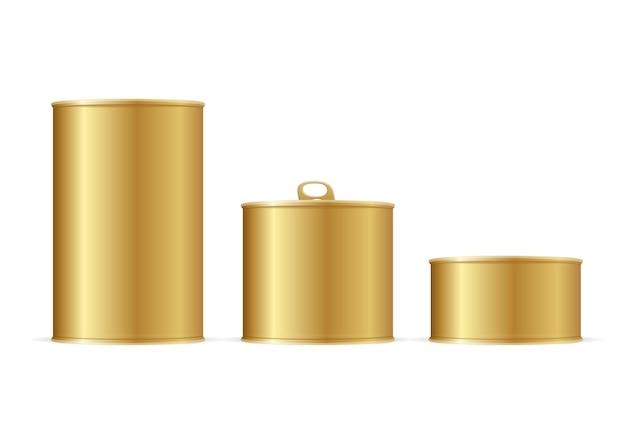 Set di barattoli di latta d'oro. dimensioni diverse per il tuo business. illustrazione vettoriale