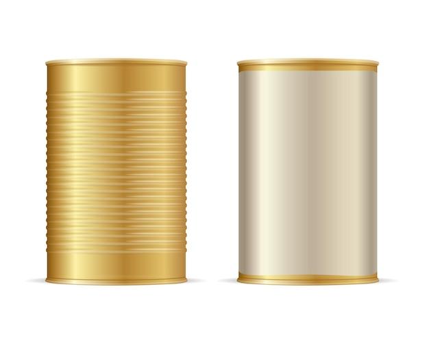 Set di barattoli di latta d'oro. illustrazione vettoriale